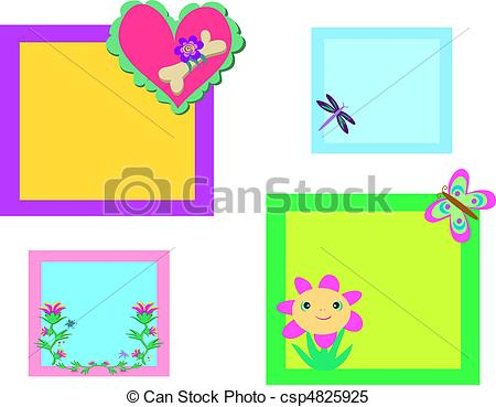 Clipart Vector of Mix of Colorful Nature Frames.