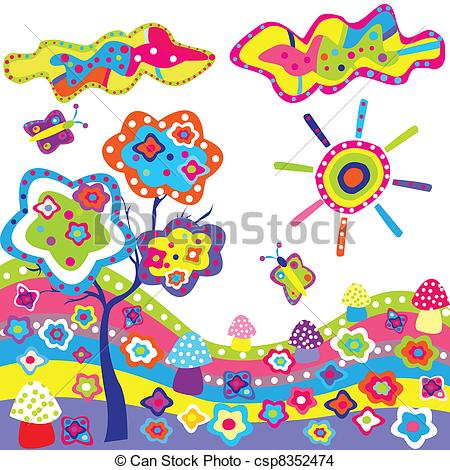 EPS Vector of Funky background with colorful elements from nature.