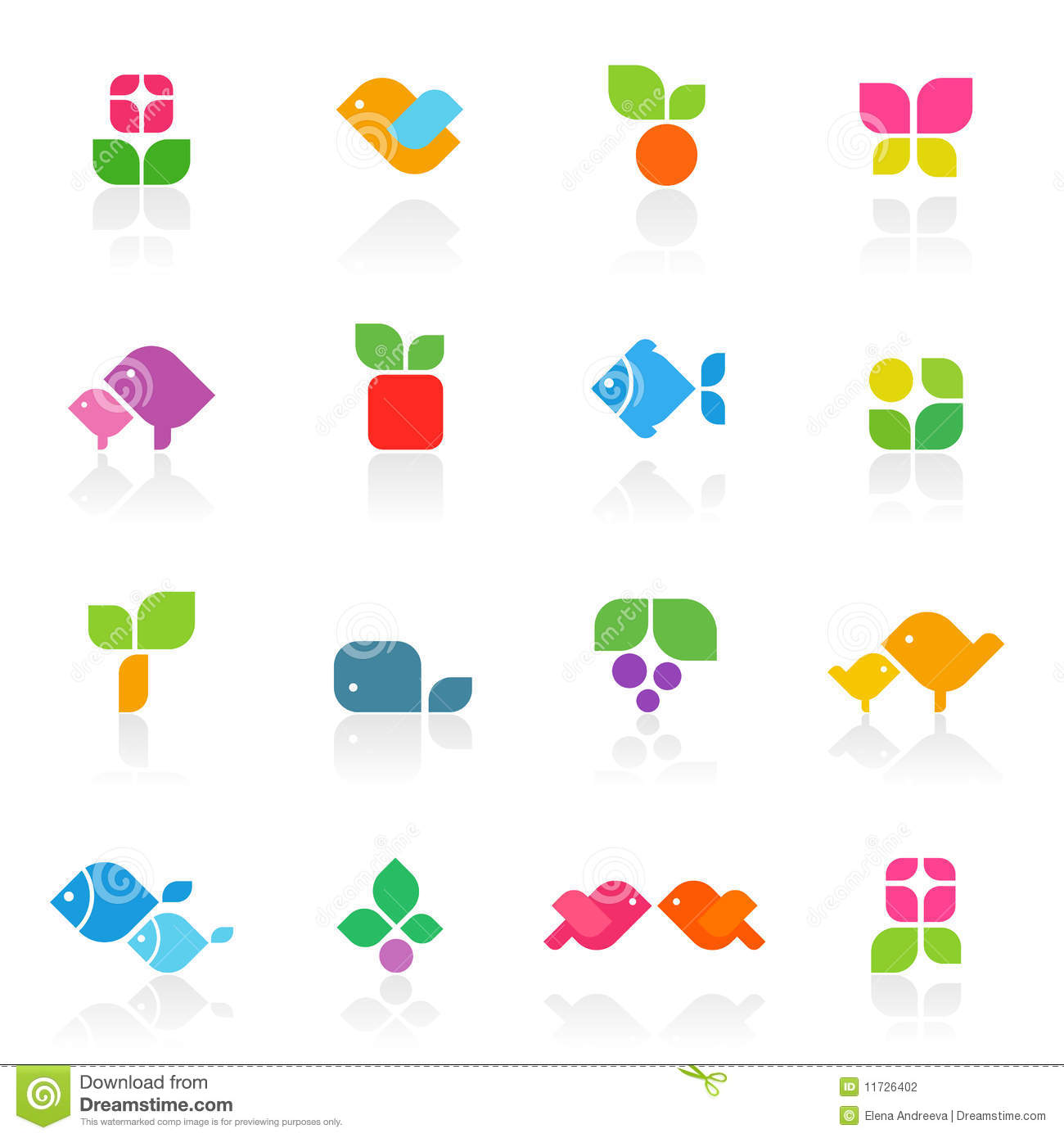 Colorful Nature. Vector Logo Template Set. Stock Photography.