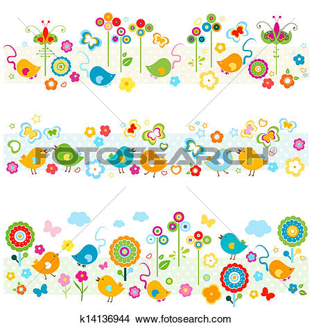 Clipart of cute nature borders with colorful elements k14136944.