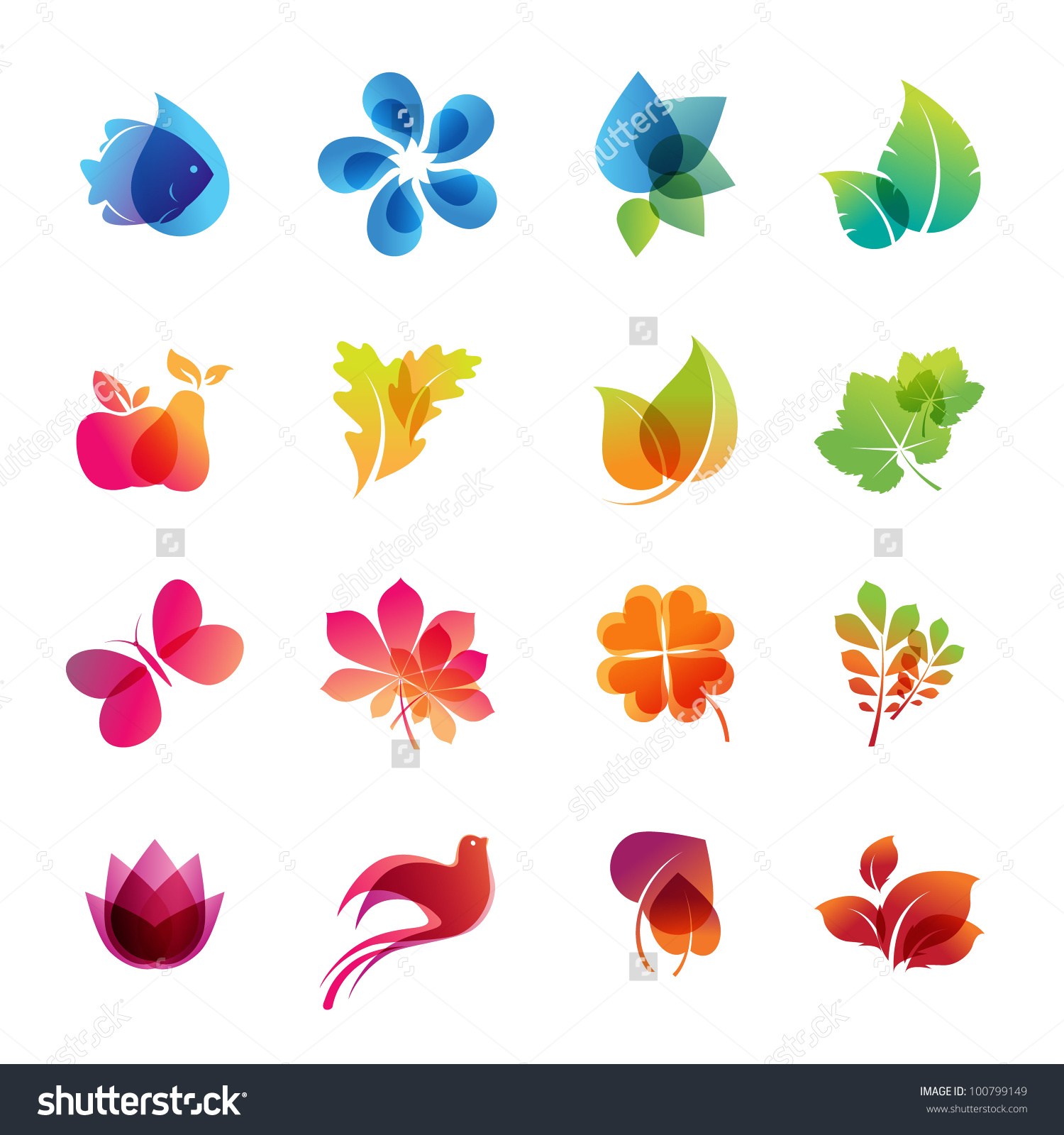 Colorful Nature Icon Set Stock Vector 100799149.