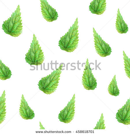 Colorful Polygonal Nettle Leafs Background, Seamless Pattern.
