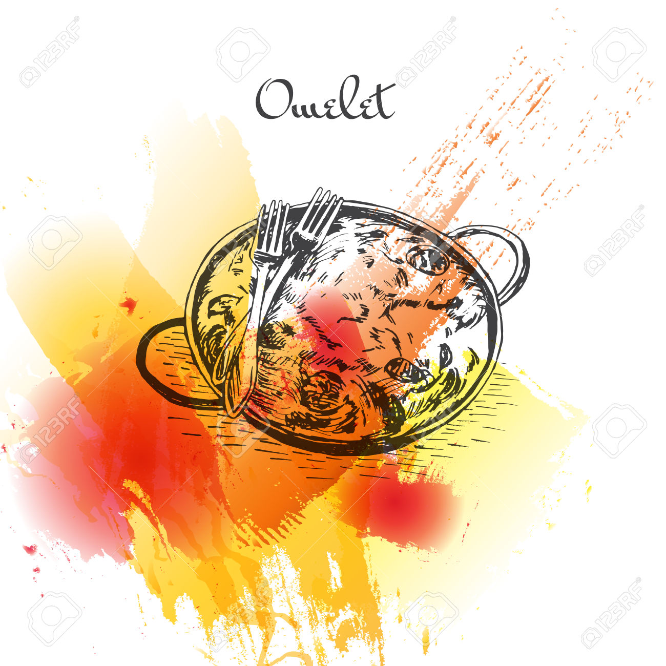 Omelet Colorful Watercolor Effect Illustration. Vector.