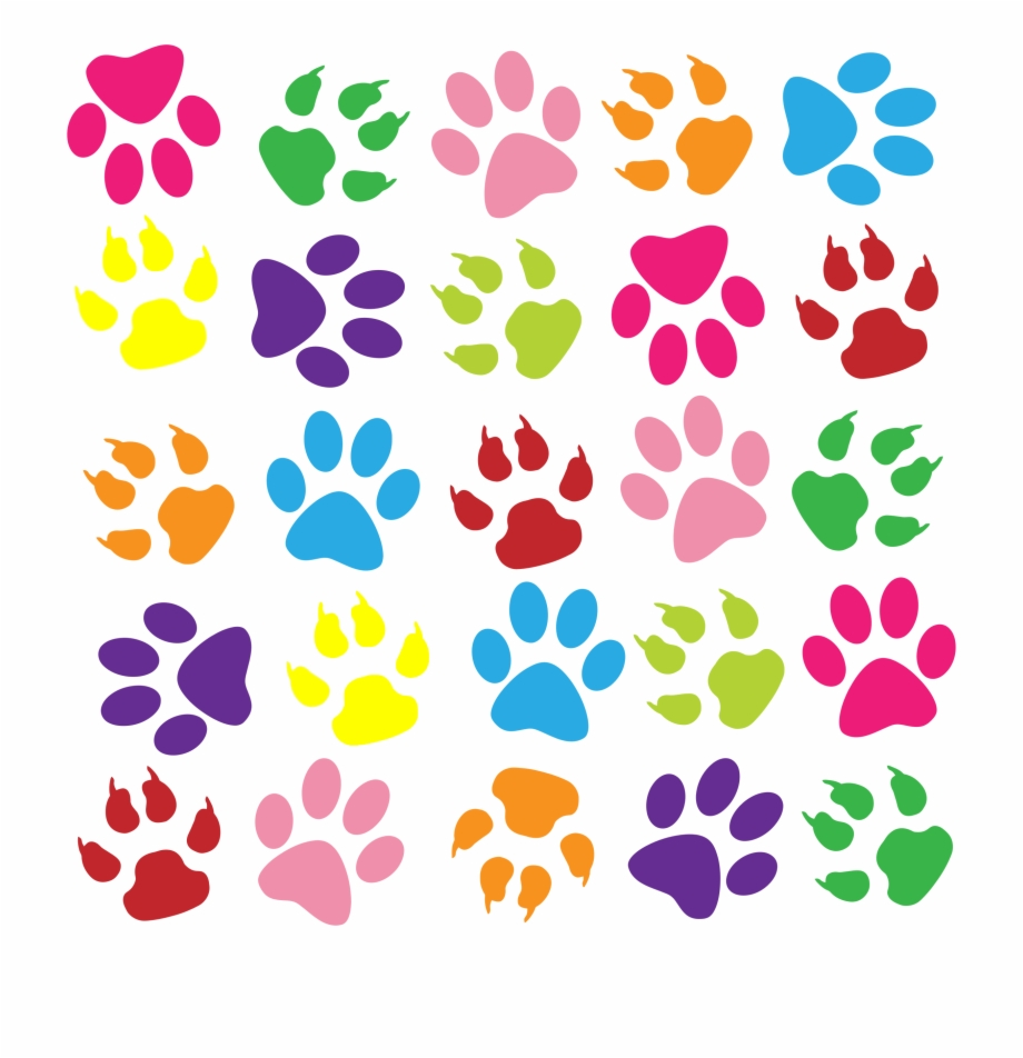 Colouful Clipart Paw Print Colorful Paw Prints.