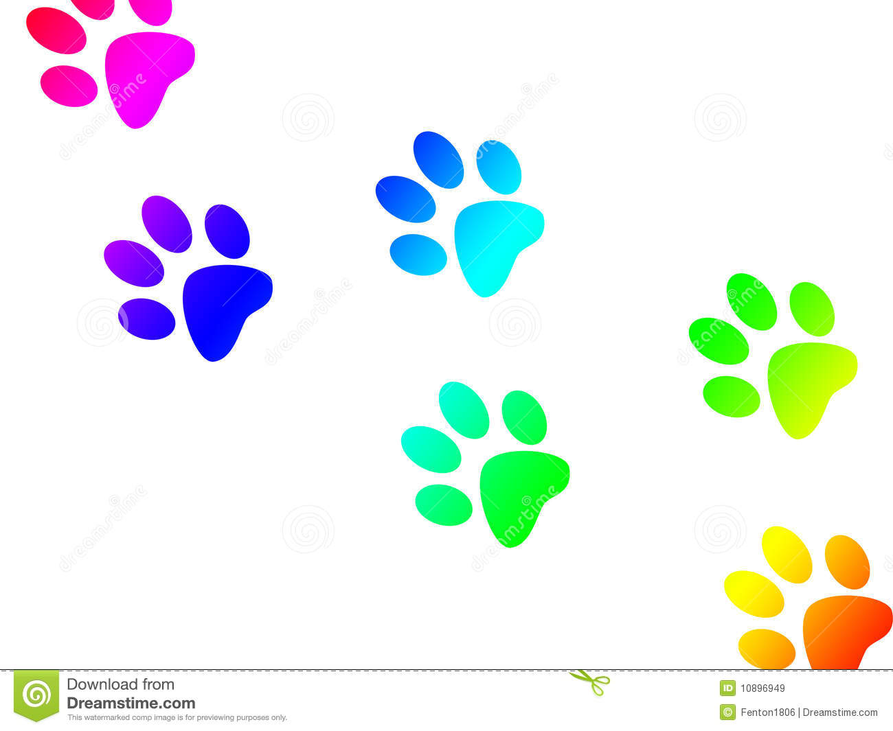Colorful Paw Print Clipart.