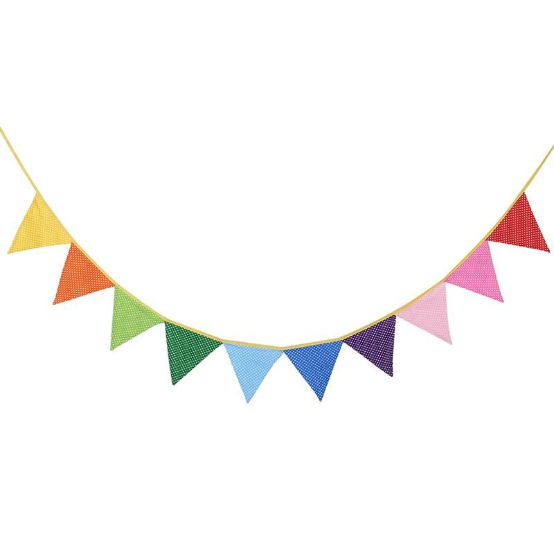 10pcs Polka Dotted Flags Colorful Pennant For Wedding.