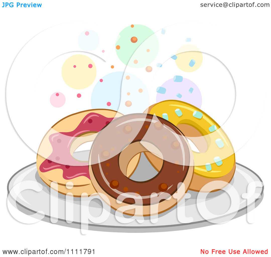 Clipart Donuts On A Plate With Colorful Circles.