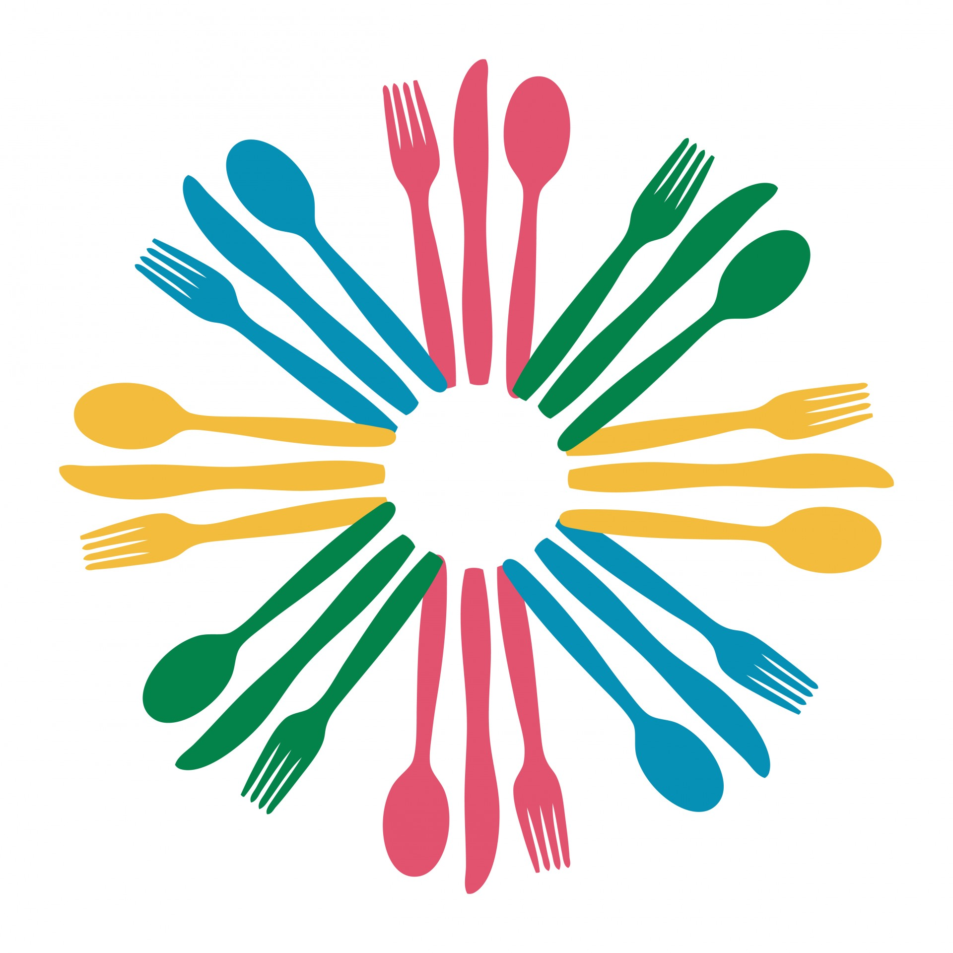 Colorful Cutlery Logo Clipart Free Stock Photo.
