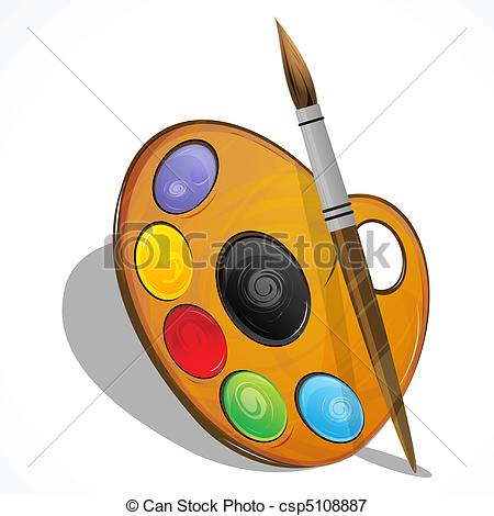Vectors Illustration of color plate with brush.