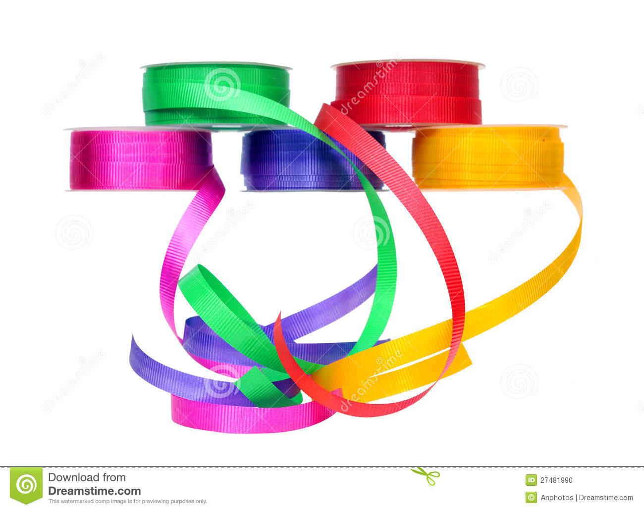 Colorful Ribbon Rolls Stock Photo.