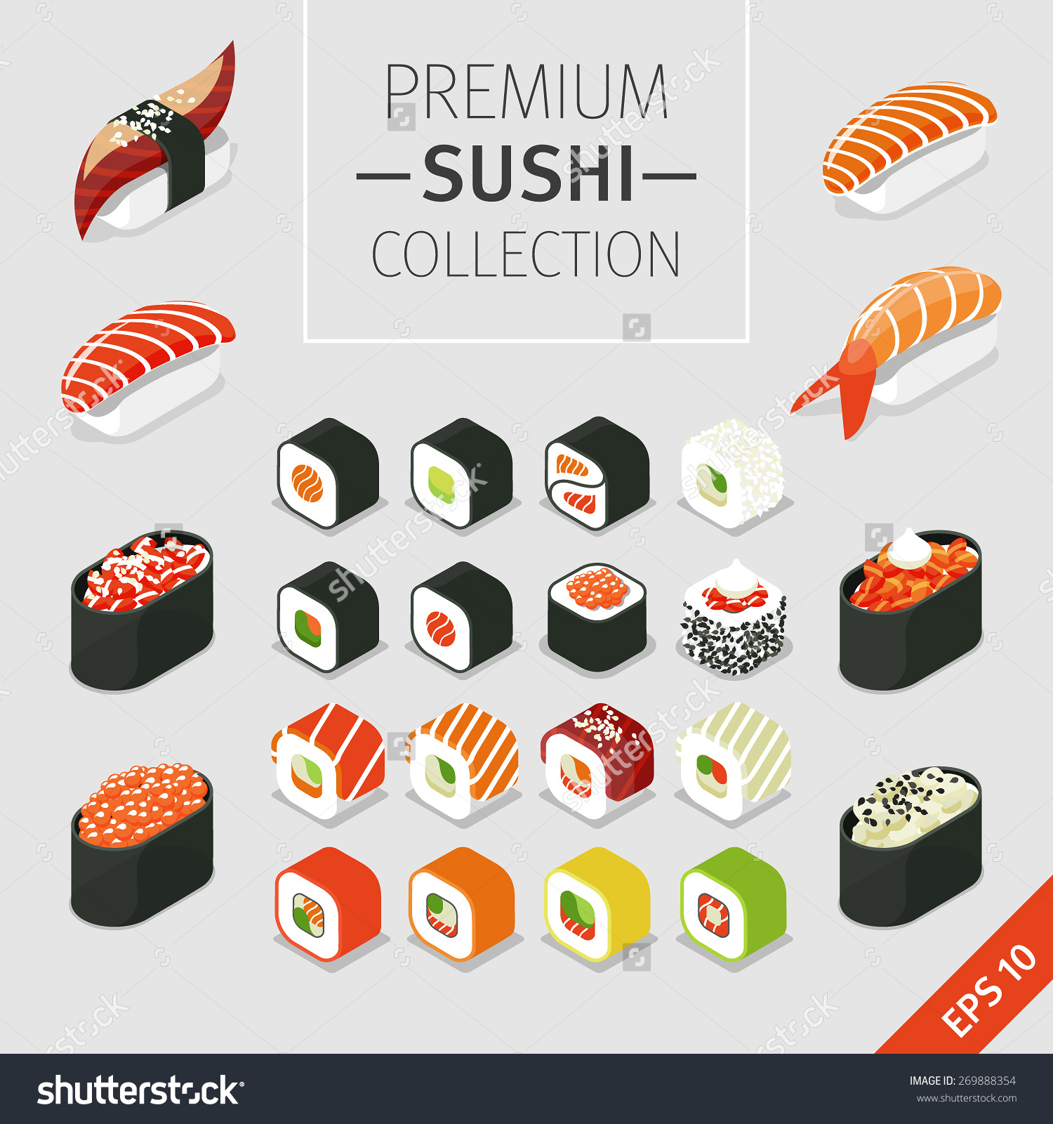 Vector Set Japanese Food Icons Colorful Stock Vector 269888354.