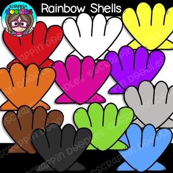 Rainbow Seashells FREEBIE Clipart {Scrappin Doodles Clipart}.