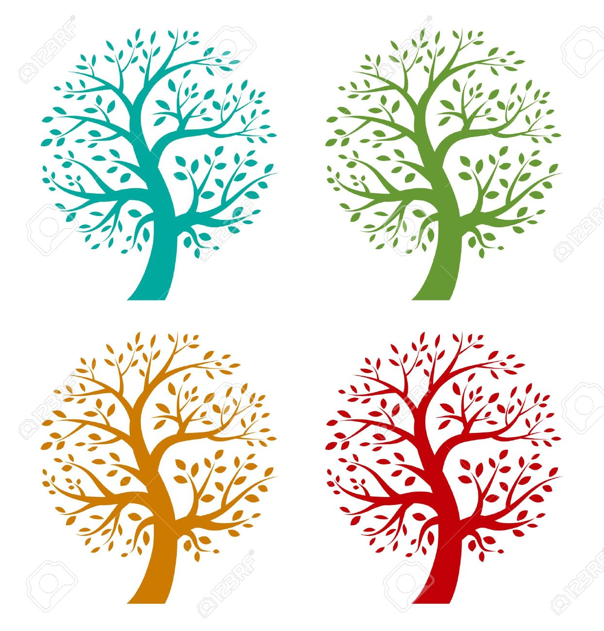 Set Of Colorful Season Tree Icons Royalty Free Cliparts, Vectors.