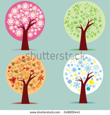 Four Seasons Spring Summer Autumn Winter Stock Vector 70762504.