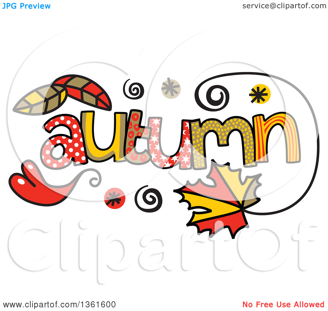 Clipart of Colorful Sketched Autumn Season Word Art.