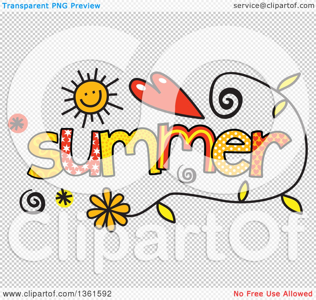 Clipart of Colorful Sketched Summer Season Word Art.