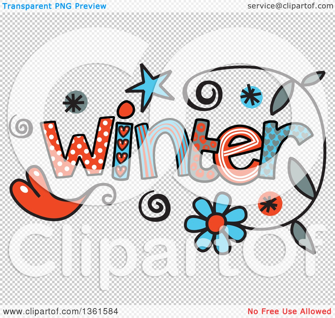 Clipart of Colorful Sketched Winter Season Word Art.