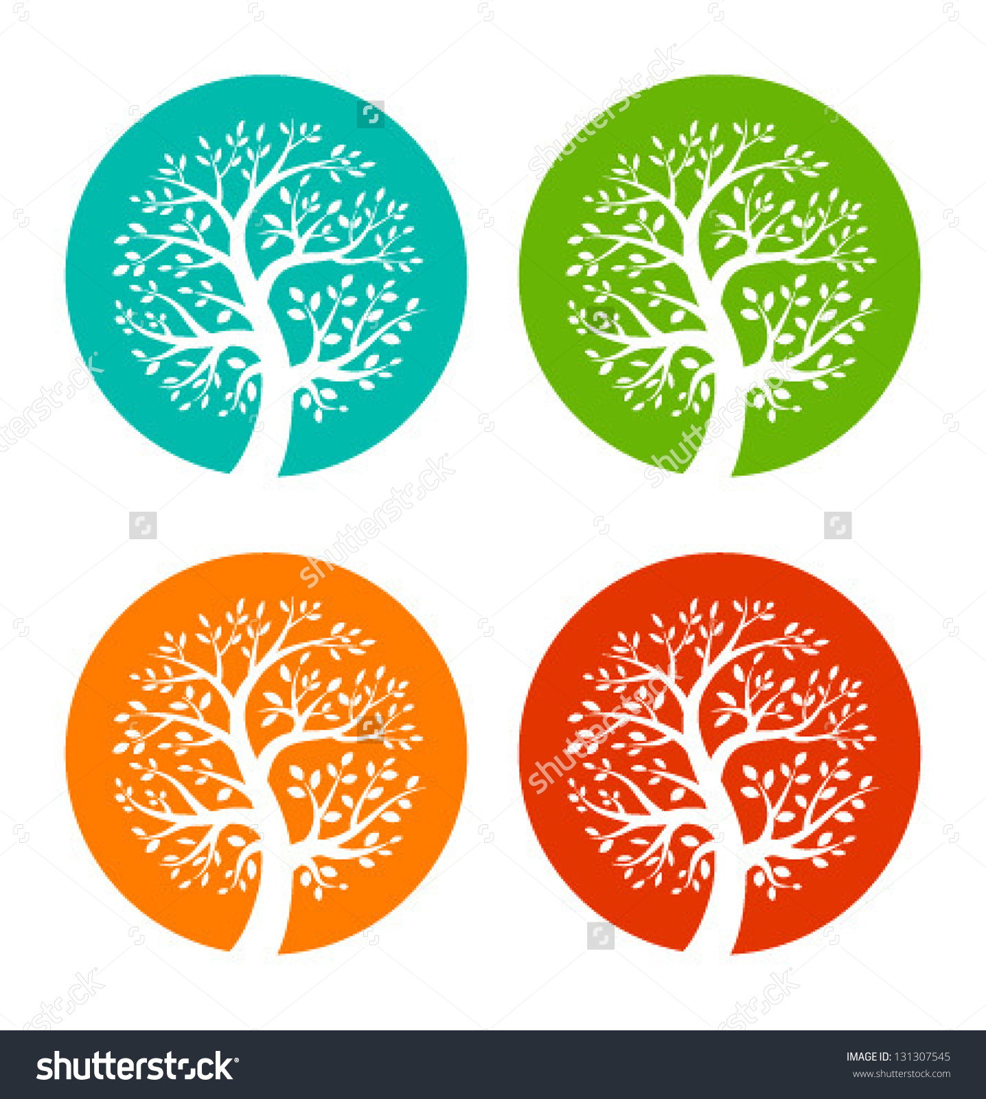 Set Colorful Season Tree Icons Vector Stock Vector 131307545.