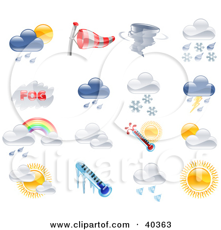 Clipart Illustration of Shiny Colorful Season And Weather Icons by.
