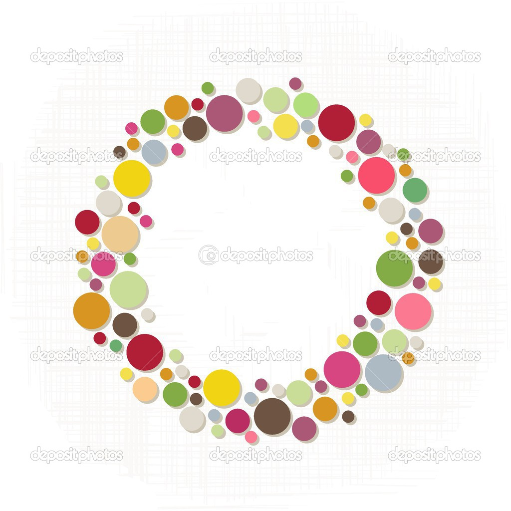 Abstract colorful season holiday decoration wreath made of dots.