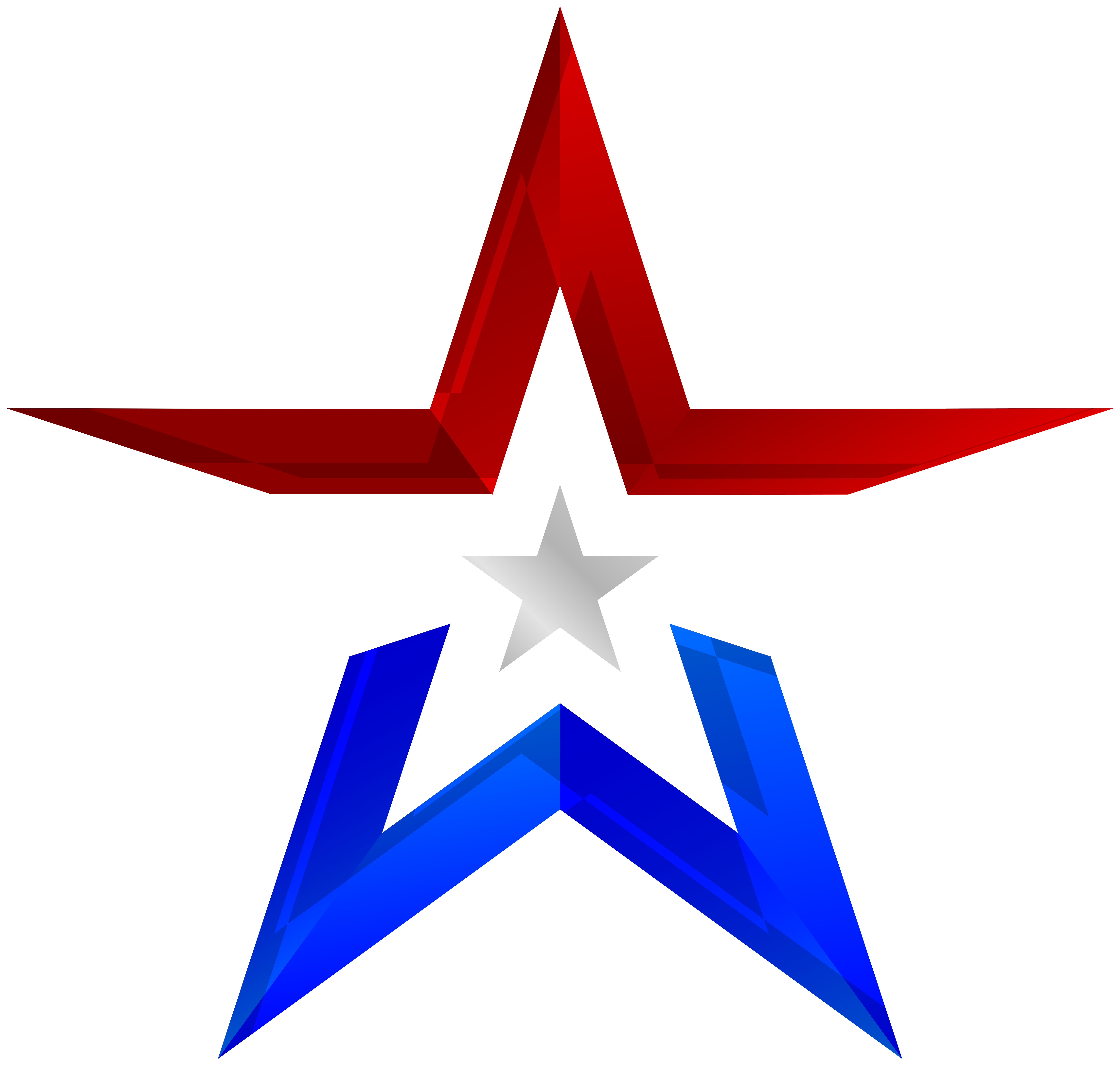 USA Colors Star Transparent PNG Clip Art Image.