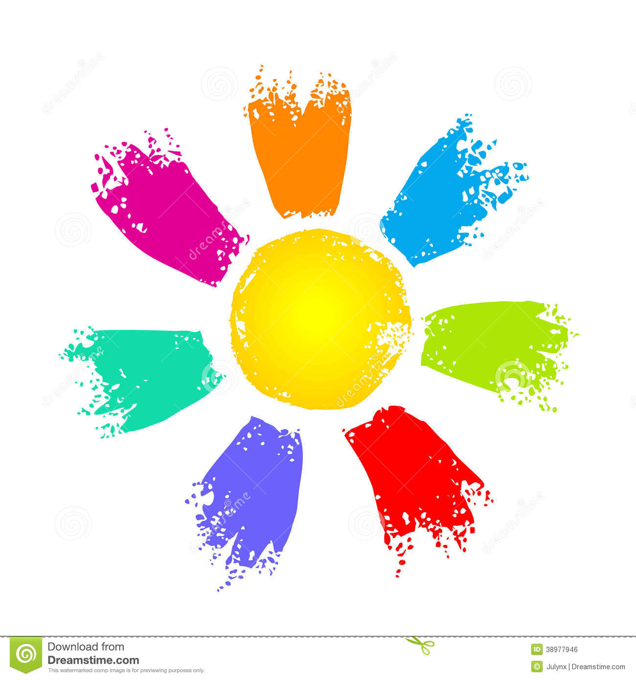 Sun With Colorful Rays Stock Vector.