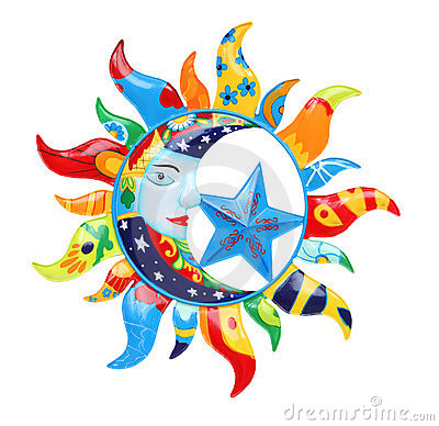 Colorful Sun And Moon Royalty Free Stock Photography.