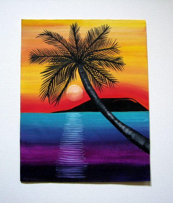 Sunset with black tree clipart colorful.