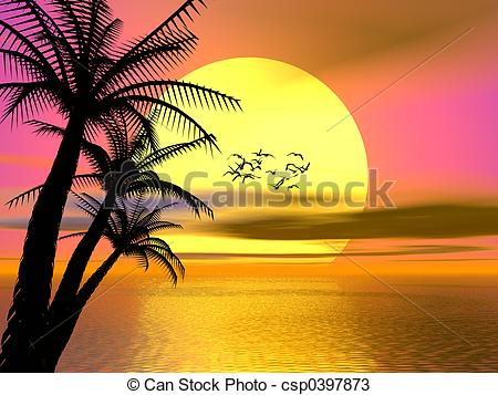 Drawings of Colorful Tropical sunset, sunrise.