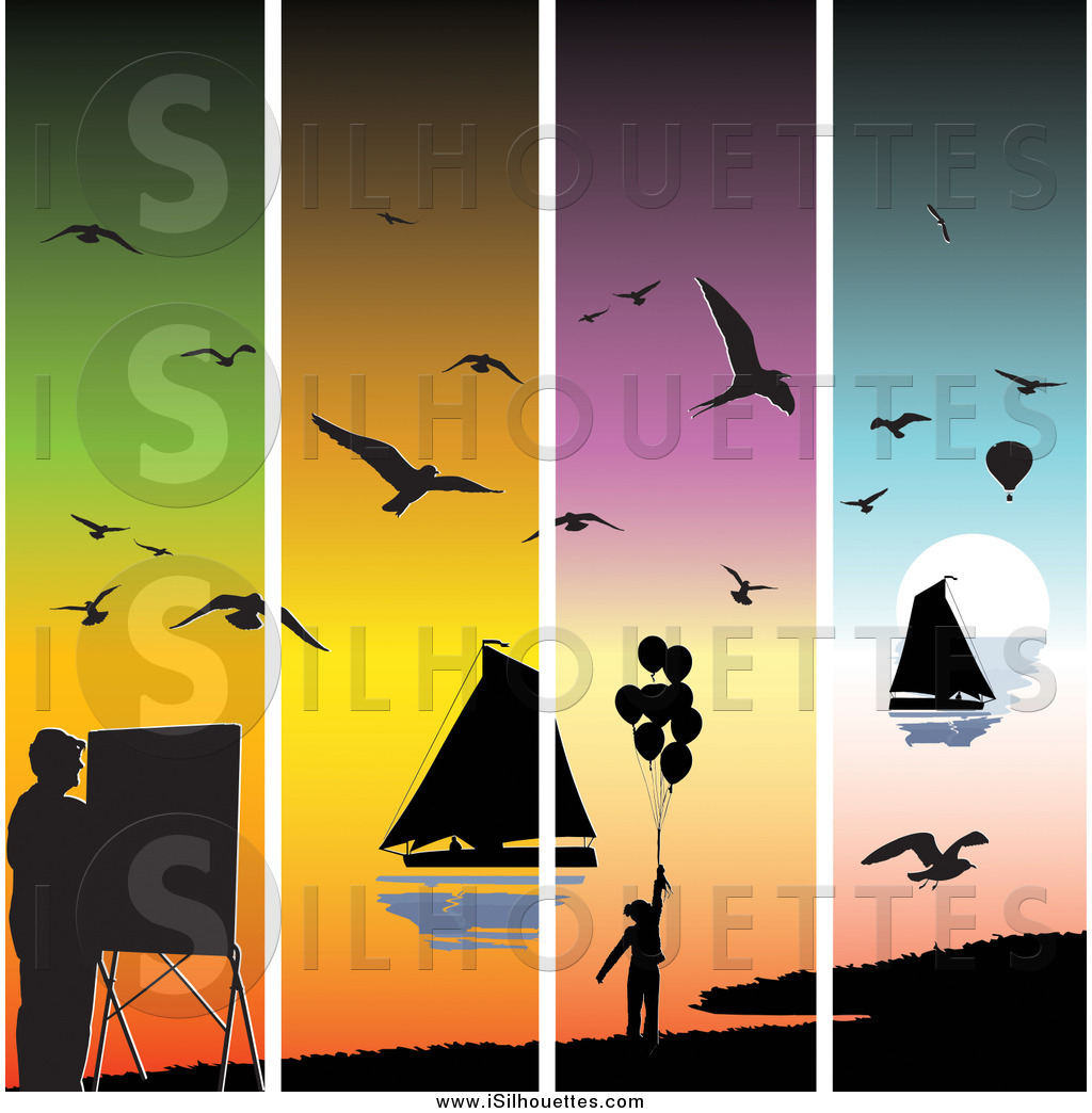 Clipart of a Colorful Sunset Panels with Silhouetted Seagulls.