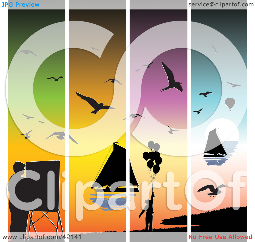 Clipart Illustration of Four Colorful Sunset Panels With.
