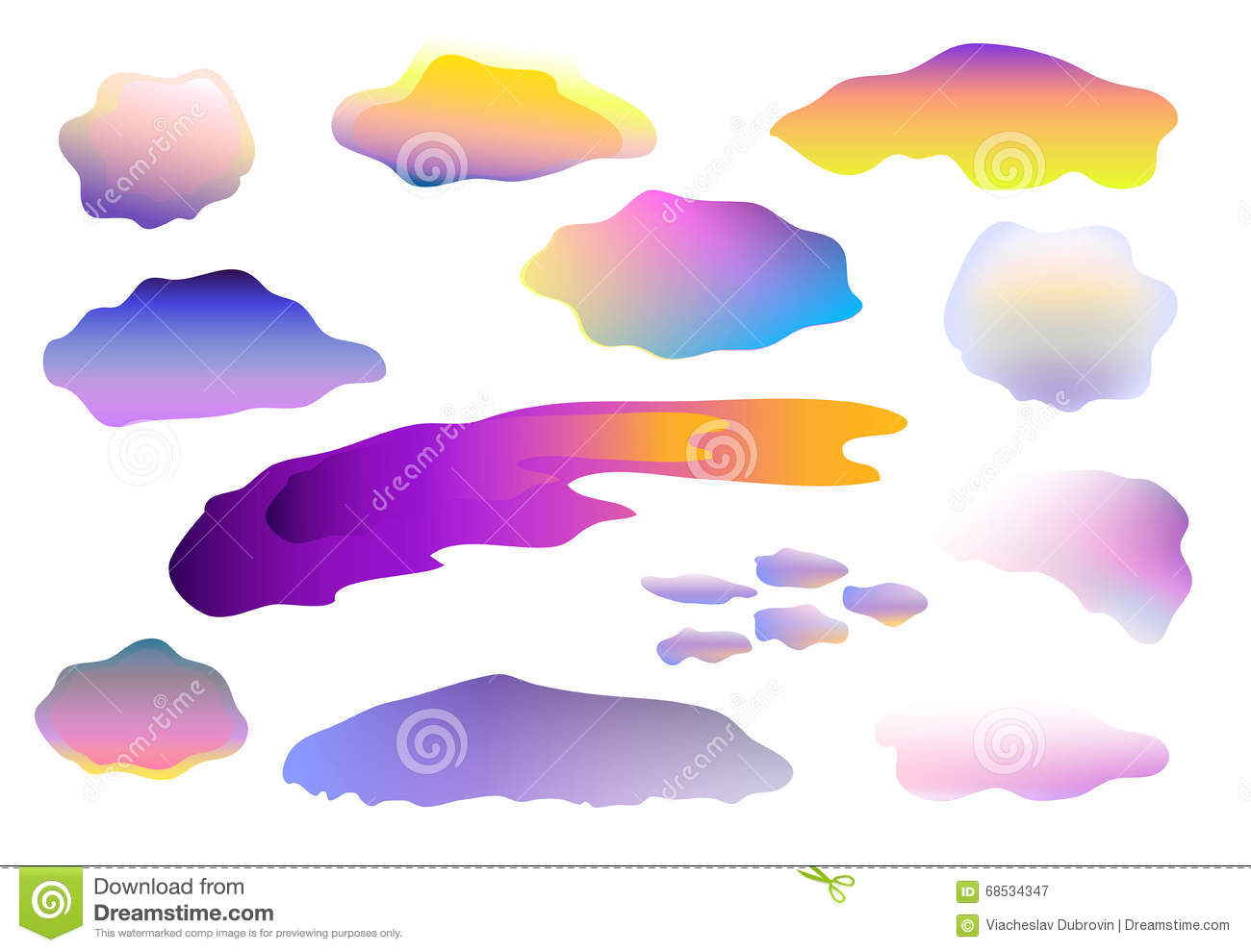 Colorful Clouds Clip Art On White Background, Clouds On White.