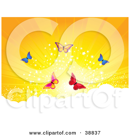 Clipart Illustration of Five Colorful Butterflies Above The Clouds.