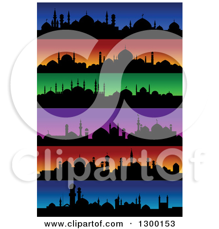 Clipart of Silhouetted Mosques and Colorful Sunset Skylines.