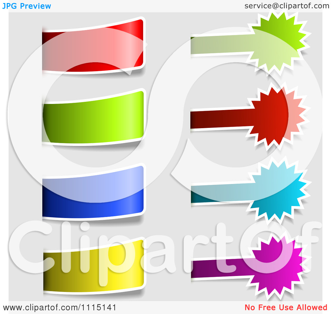 Clipart Colorful Tab And Burst Labels On Gray.