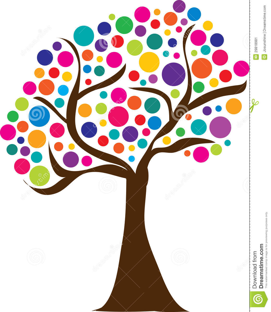 Colourful Trees Clipart.
