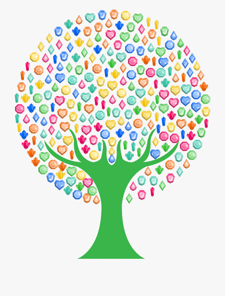 Colorful Gems Tree Clipart Black And White Download.