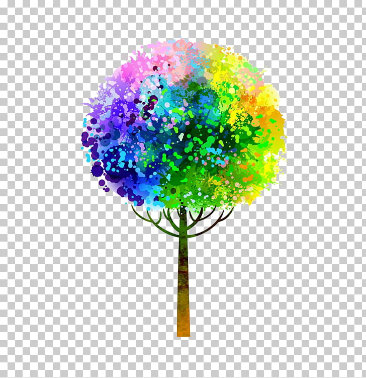 Watercolor painting Tree, Colorful tree, multicolored tree.