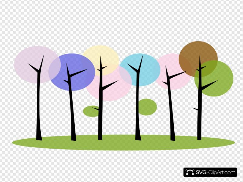 Colorful Trees Clip art, Icon and SVG.