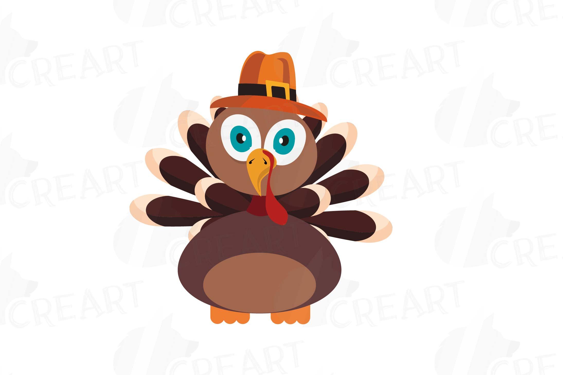 Colorful Thanksgiving Turkey clip art, Happy Thanksgiving.