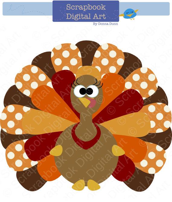 Colorful Turkey Digital Clip Art, Thanksgiving Turkey.