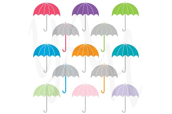 Colorful Umbrella Clip Art ~ Illustrations on Creative Market.