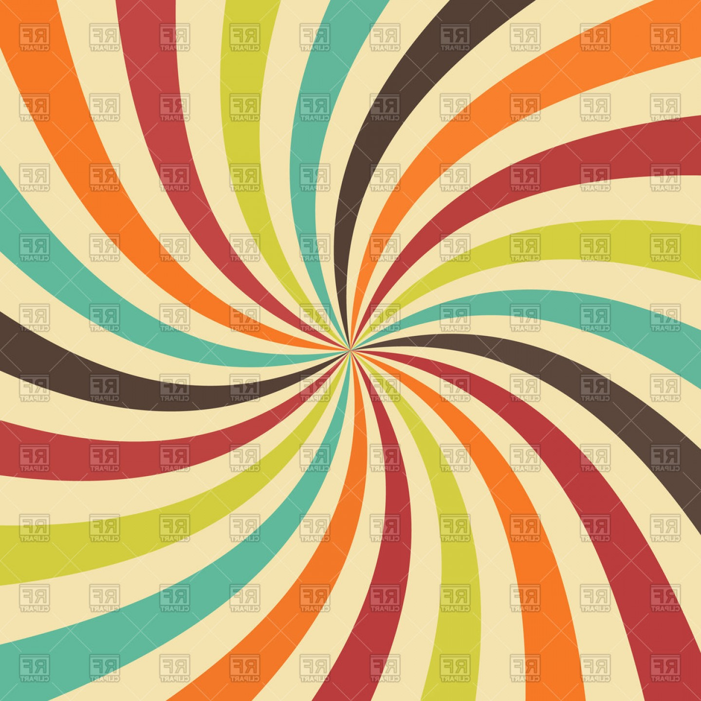 Colorful Swirl Radial Pattern Background Vector Clipart.