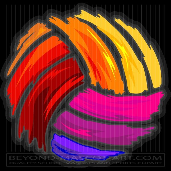 Colored Volleyball Clip Art.