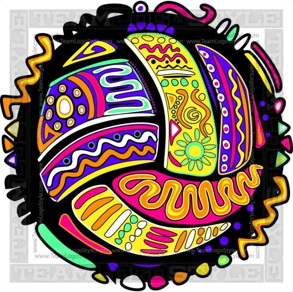 Bright Colored Volleyball Design.