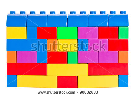Colorful Wall Made With Toy Building Bricks Stock Photo 90002638.