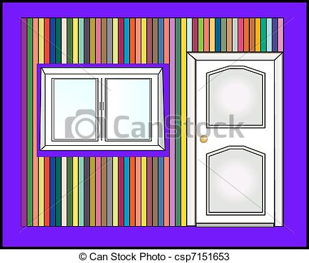 Vectors of door and colorful wall vector.