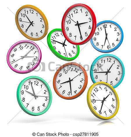Stock Illustration of Colorful Clocks Falling Down.
