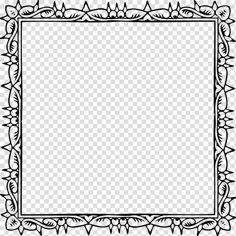 Coloring book Border , pages transparent background PNG.