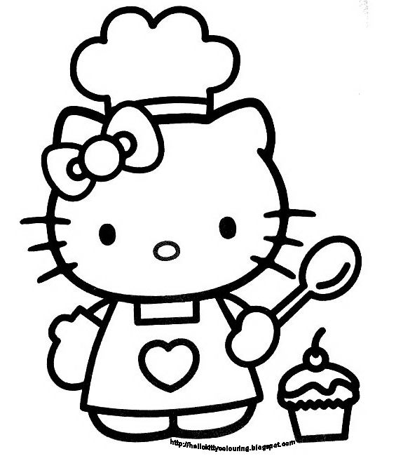 Hello Kitty Coloring Book Sheet Black And White picture.